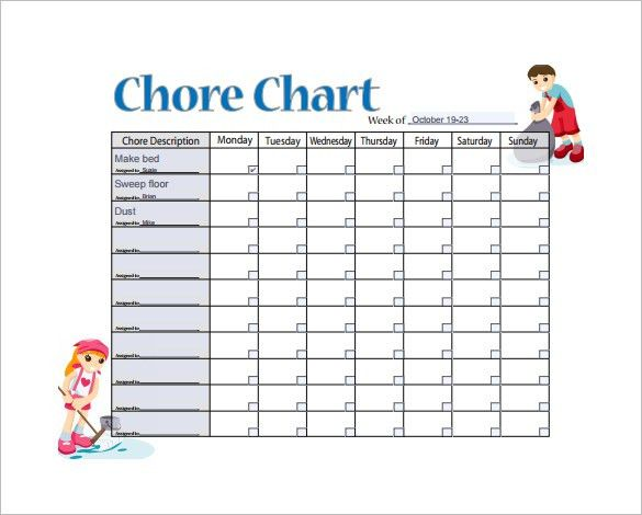 11+ Sample Weekly Chore Chart Template - Free Sample, Example ...