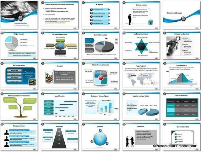 Business Numbers PowerPoint Template Set