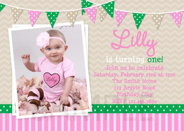 1st Birthday Invitations Girl Free Template : Printable Birthday ...