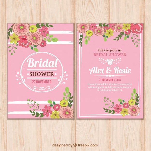Pink bridal shower invitation template with floral decoration ...