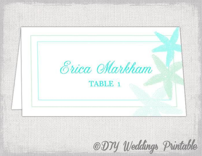 "Beach Place Card Template ""Starfish"" Printable Destination Wedding ..."