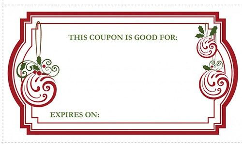 Printable Christmas Coupon Template Design Sample with Red Color ...