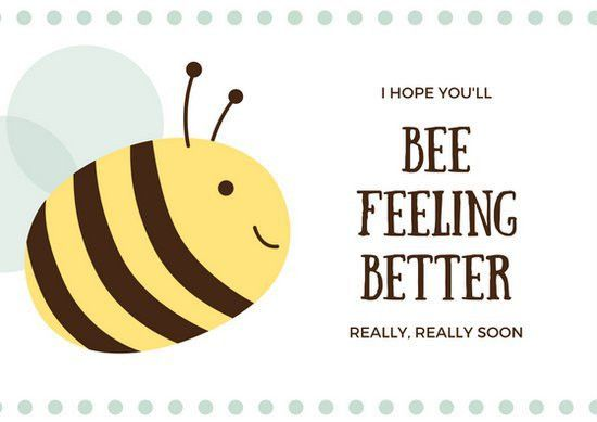 Cute Yellow and Brown Bee Get Well Soon Card - Templates by Canva
