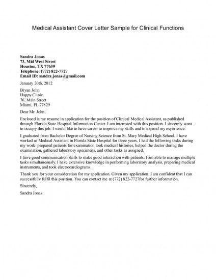 Cover Letter for Medical Assistant Sample   Sample Cover Letters