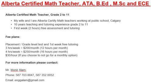 MATH TUTOR   Calgary Desis Classifieds