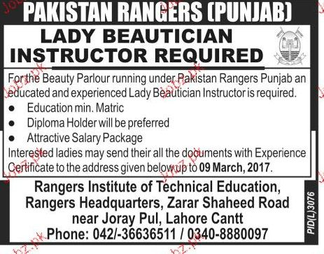 Lady Beautician Instructors Job in Pakistan Ranger 2017 Jobs ...