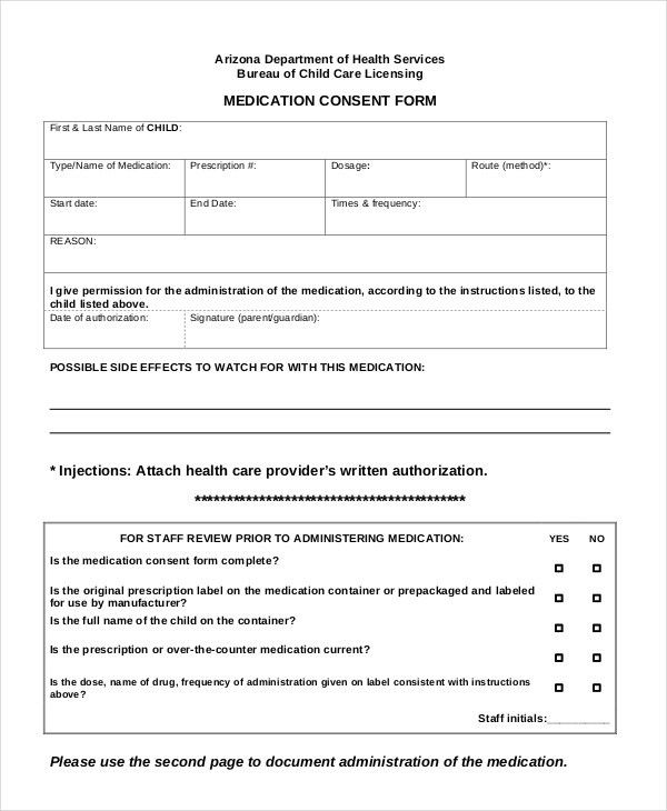 Sample Medical Consent Form Example. First Aid Medical Consent ...