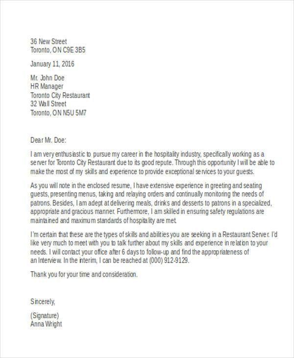 9+ Server Cover Letter - Word, PDF | Free & Premium Templates