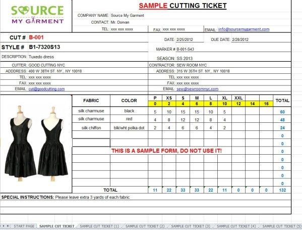 Cutting Size Ticket Form Template - Source My Garment