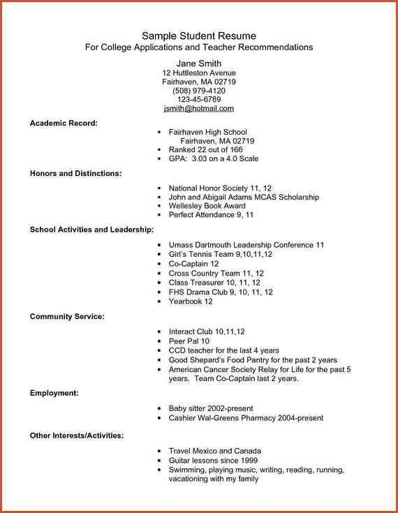 COLLEGE APPLICATION RESUME TEMPLATE.College Admission Resume ...