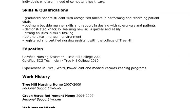sample cna resume certified nursing assistant example of cna ...