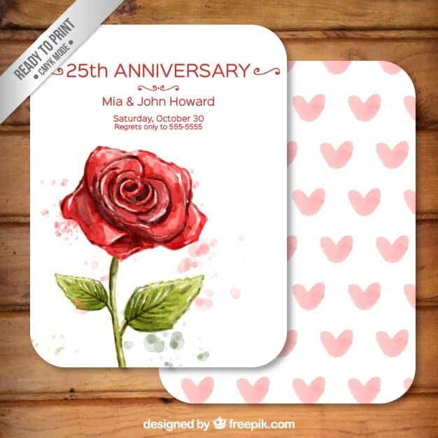 Hand painted rose anniversary card | free vectors | UI Download