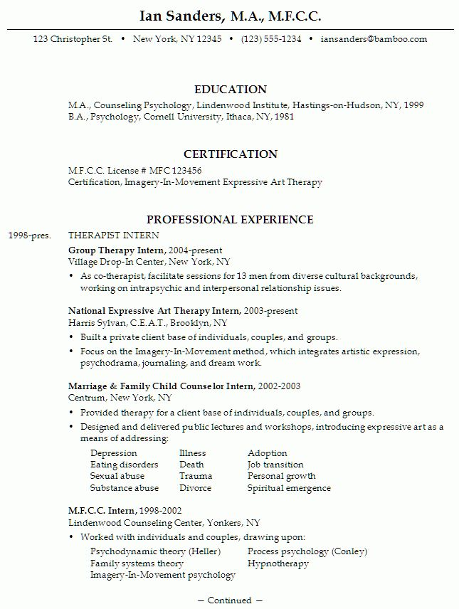 Resume for an MFCC Therapist - Susan Ireland Resumes