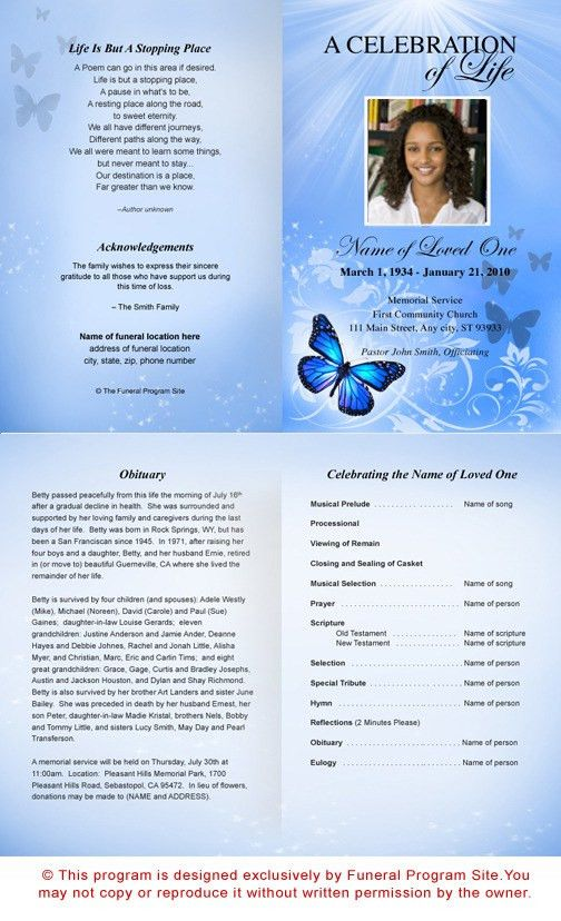 AO Butterfly Letter Single Fold Funeral Program Template