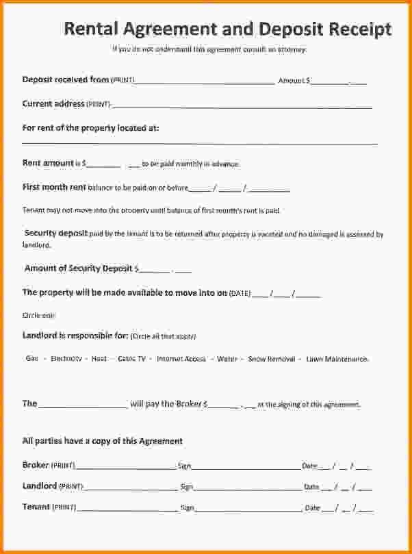 Rent Contract Template.rental Agreement Deposit Receipt 592dpi.jpg ...
