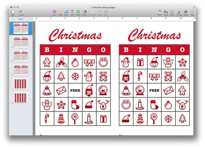 Christmas Bingo Template PDF or Pages - MacTemplates.com