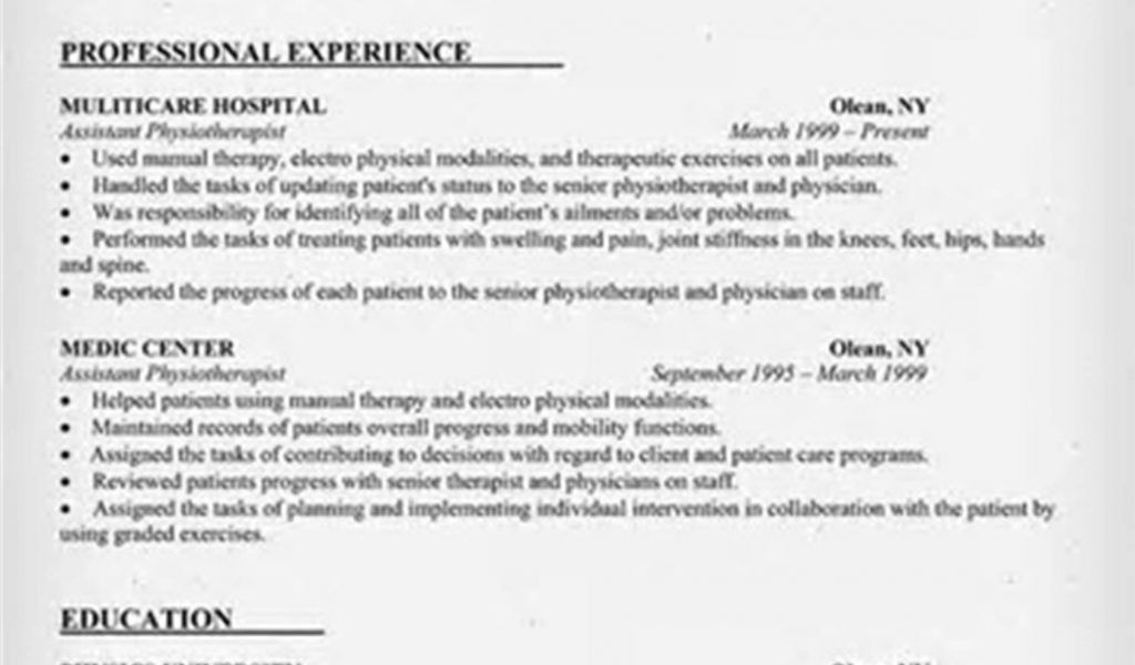 resume format for physiotherapist job twhois resume. full time ...