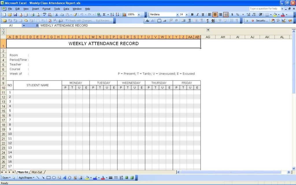 Simple Weekly Student Attendance Sheet Record Template in Excel ...