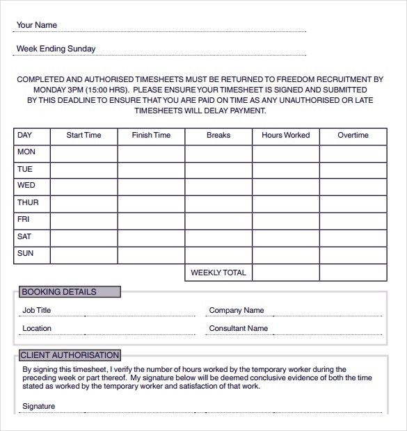 12+ Consultant Timesheet Templates – Free Sample, Example Format ...