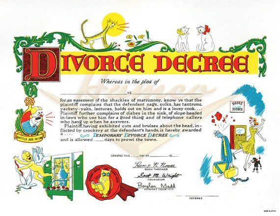 "Items similar to 1950s/1960s Gag ""Divorce Decree"" Certificate ..."