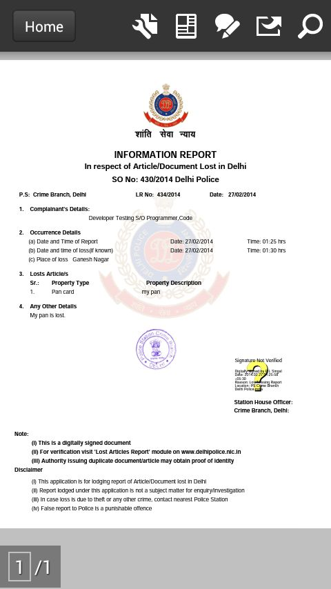 Delhi Police Lost Report - Android Apps on Google Play
