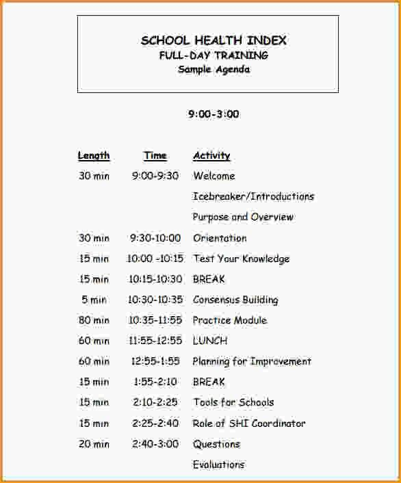 Sample Training Agenda. Training Agenda Template Sample Training ...