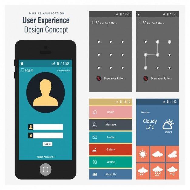 Mobile screen templates design Vector | Free Download
