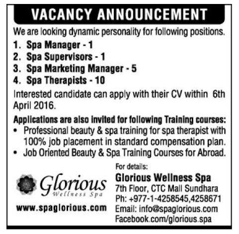 Spa Manager, Spa Supervisors, Spa Marketing Manager & Others