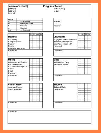 6+ middle school progress report template | Progress Report