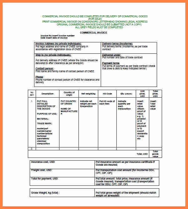 Sample Commercial Invoice. Commercial Invoice Template Pdf ...