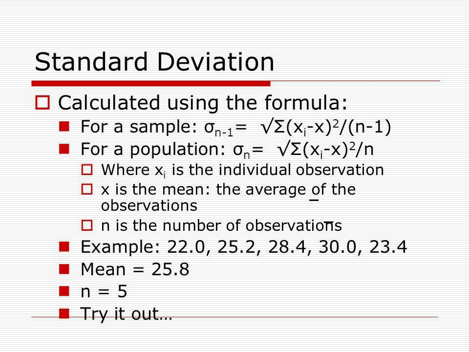 Statistical Analysis Mean, Standard deviation, Standard deviation ...