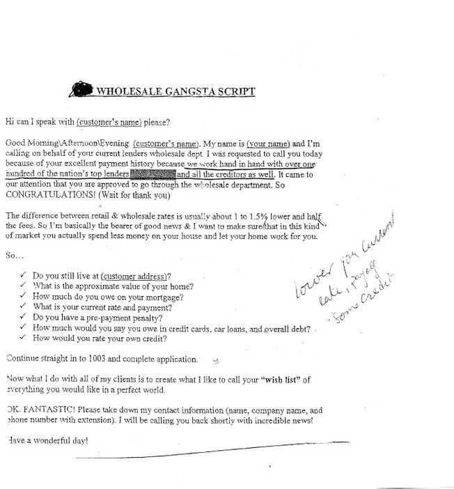 Sample Phone Scripts Used By Sleazy Subprime Lenders In 2005 ...