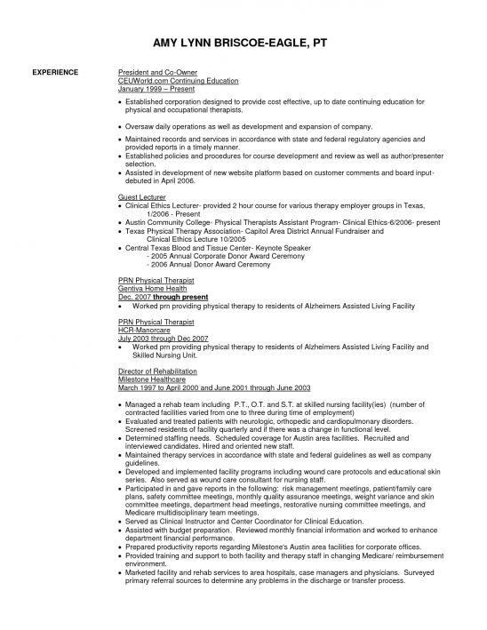 physical therapist resume example. physical therapy resume ...