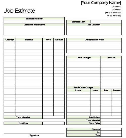 Contractor Estimate. Basic Job Estimate Form Estimate ...