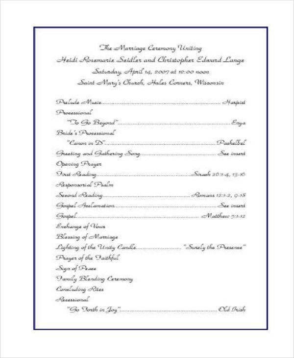 10+ Wedding Program Templates - Free Sample, Example, Format ...