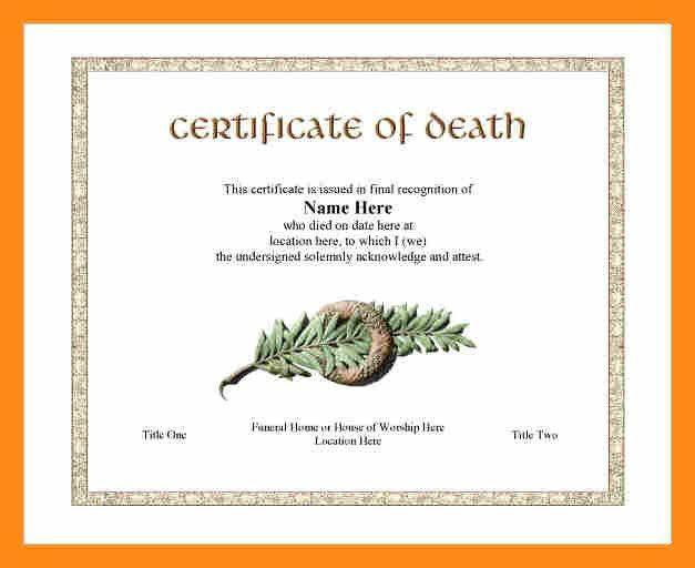 9+ death certificate template | actor resumed