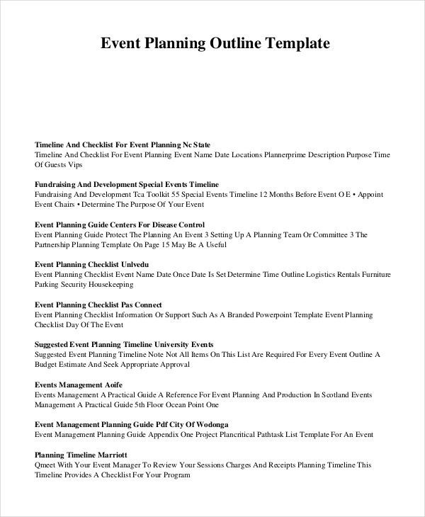 Event Outline Template - 7+ Free Word, PDF Document Downloads ...