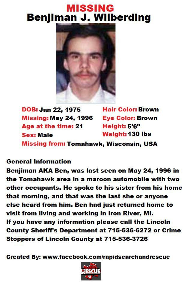 Current Missing Person flyers from Wisconsin in the 1990s To ...