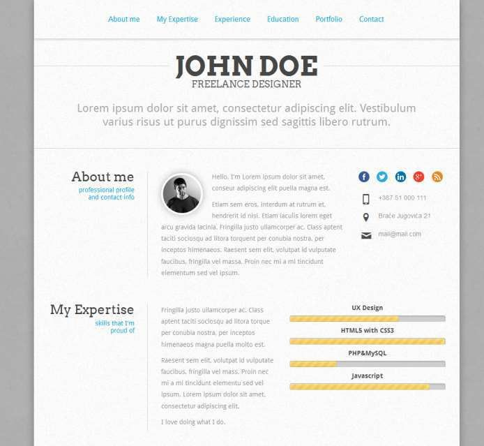 resume template in html format single page resume 5 cv template ...