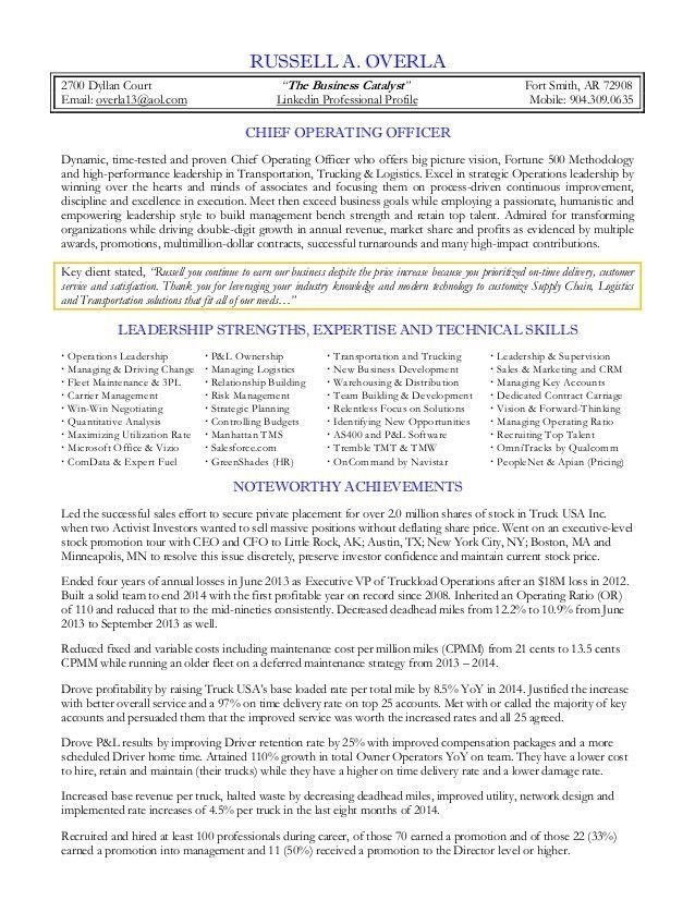 Overla, Russell - COO Resume 2015