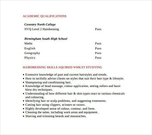 Sample Hair Stylist CV Template - 6+ Free Documents Download in ...