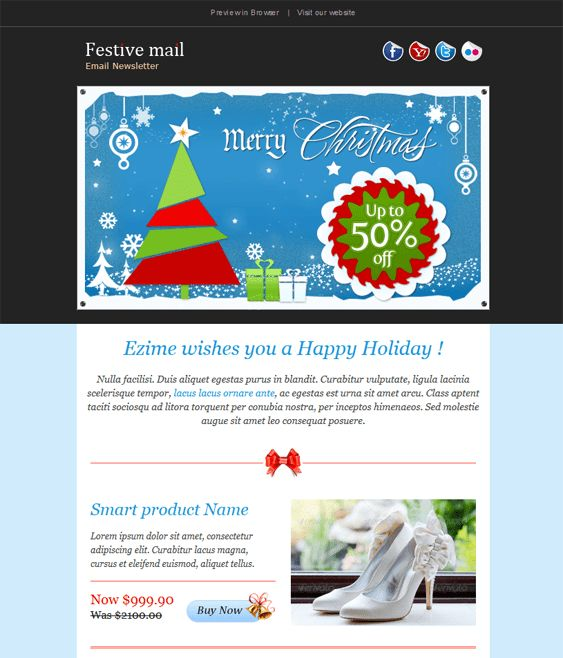 This holiday and Christmas email template includes a responsive ...