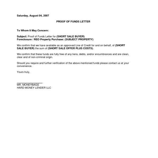 Proof Of Funds Letter Example | Resume Cover Letter Template ...