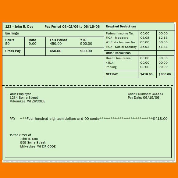 4 pay stub template excel | Receipt Templates