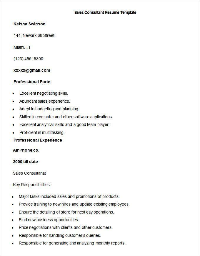 Furniture Sales Consultant Resume Sample - Contegri.com