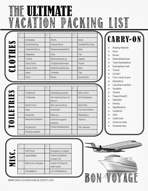 THE Ultimate Vacation Packing List #freeprintable #vacationpacking ...