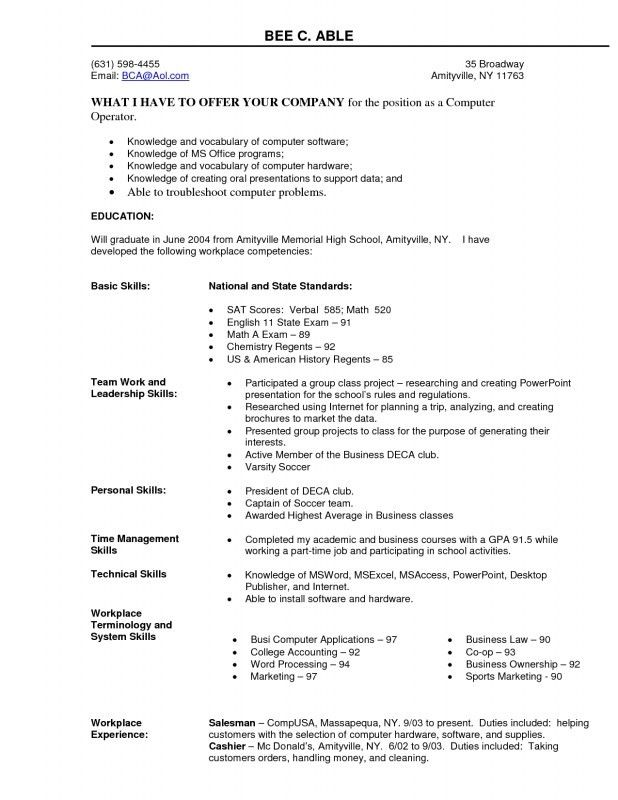 Resume Format For Computer Operator | Samples Of Resumes
