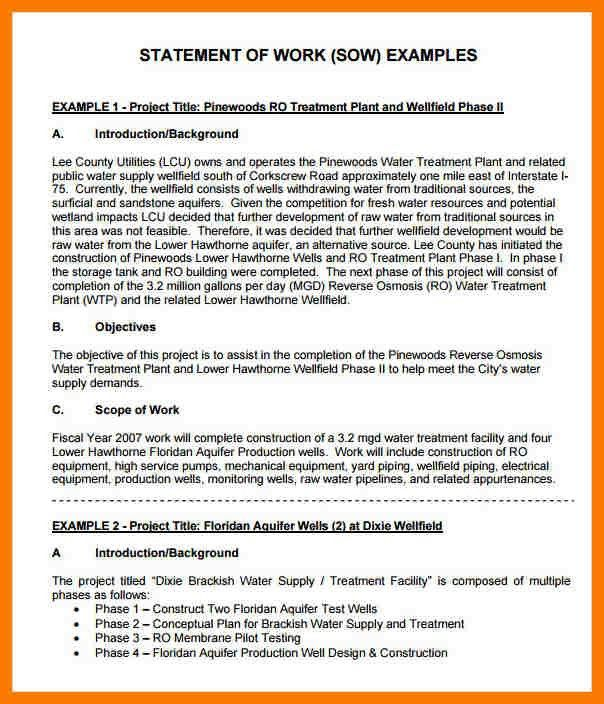 8+ statement of work example | park-attendant