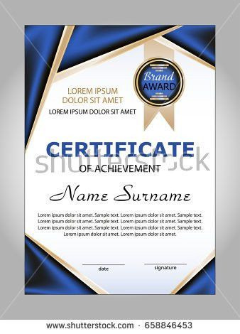 Vector Certificate Achievement Diploma Template Award Stock Vector ...