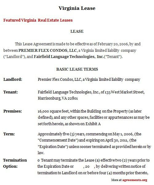 Virginia Lease Agreement, Sample Virginia Lease Agreement ...